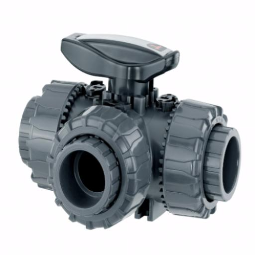 Supreme 3 Way T Port Ball Valve - Plain Union Ends - PTFE Seat - EPDM Seals