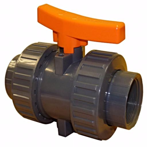 Industrial Ball Valve - Double Union - PTFE Seat - FPM Seals - Threaded Ends