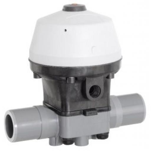 ABS Pneumatically Actuated Diaphragm Valve - Double Acting Actuator - PTFE / EPDM