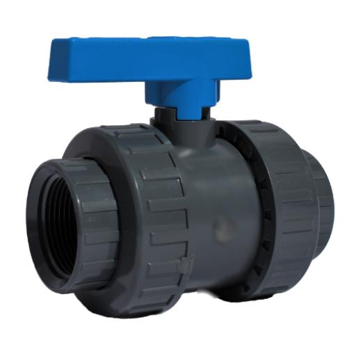 PVC Standard Ball Valve - Double Union - PTFE Seat - EPDM Seat - Threaded Ends
