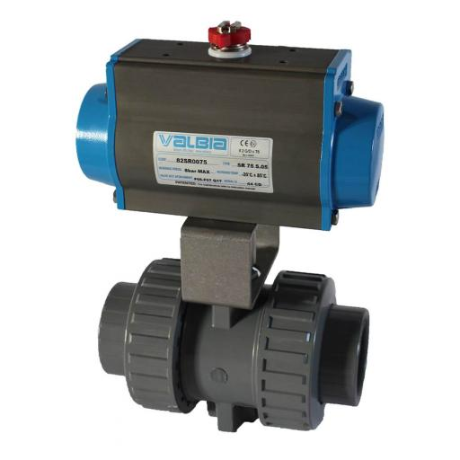 ABS Pneumatically Actuated Ball Valve - Double Acting Actuator - FPM Seals