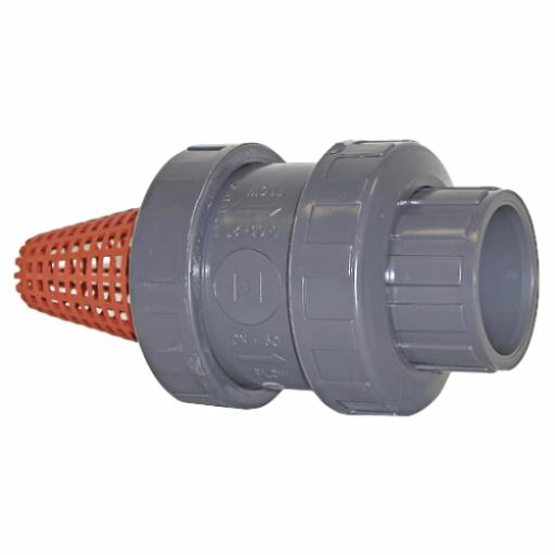 Standard Spring Type Foot Valve Strainer - Double Union - EPDM Seal - Threaded Ends