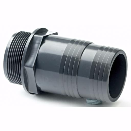 PVC Hose Adaptor - Male BSP x Inch Hose Tail Plain/Threaded Imperial / Inch- All sizes