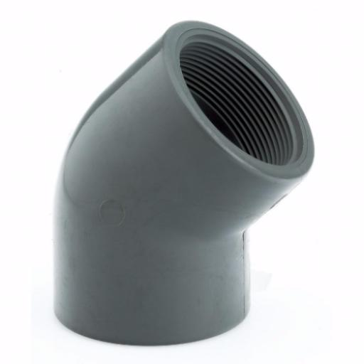 PVC-U 45 Degree Elbow Threaded Imperial / Inch- All sizes