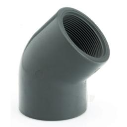 PVC 45 Degree Elbow - Plain to Threaded BSP Metric - All sizes