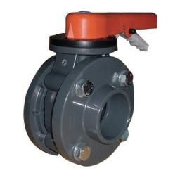 Standard Butterfly Valve - Mounted With Stub Flanges & PVC Backing Rings - FPM Liner