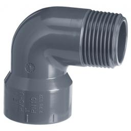 PVC 90 Degree Elbow - Male Thread One End Plain to Threaded BSP Metric - All sizes