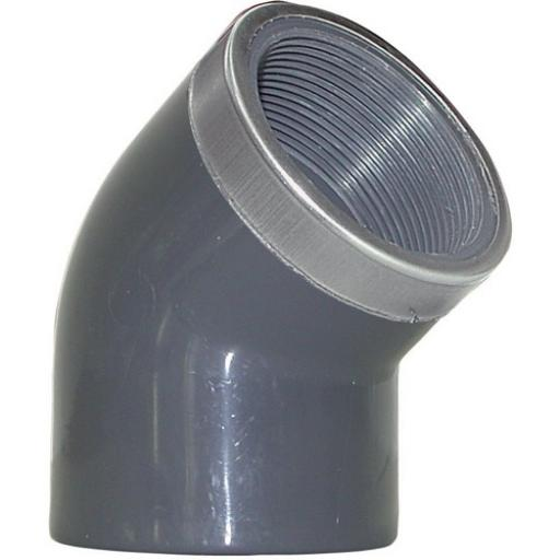 PVC-U 45 Degree Elbow - S/S Reinforced Plain / Threaded BSP Metric - All sizes