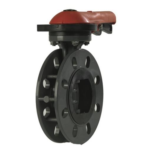 Standard Butterfly Valve - Mounted With Stub Flanges & PVC Backing Rings - EPDM Liner