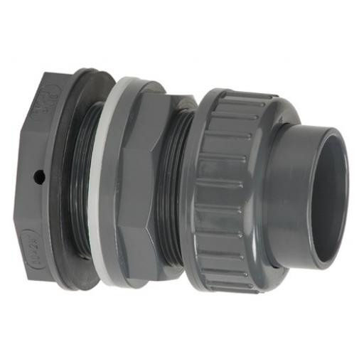 PVC-U Tank Connector - With Union - Plain to Threaded BSP Metric - All sizes