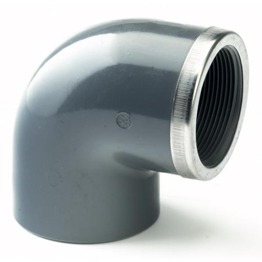 PVC 90 Degree Elbow SS Reinforced Plain to Threaded BSP Metric - All sizes