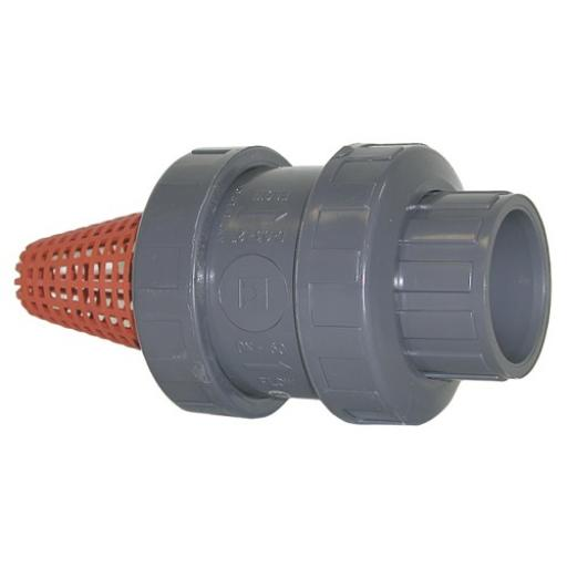 Standard Spring Type Foot Valve Strainer - Double Union - EPDM Seal - Plain Ends
