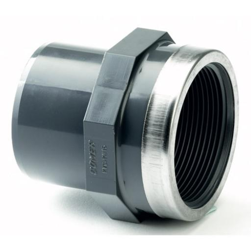 PVC Adaptor - SS Reinforced - Male Plain to Female Threaded BSP Metric