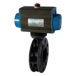 Pneumatically Actuated Butterfly Valve - PVC Body & Disc - ST.ST Shaft - EPDM liner- Fail Safe Close