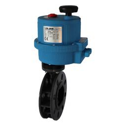 Electrically Actuated Butterfly Valve - PVC Body & Disc - ST.ST Shaft - EPDM liner - 24V AC/DC